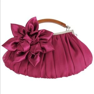 Floral Embellished Chiffon Exterior Party Clutch